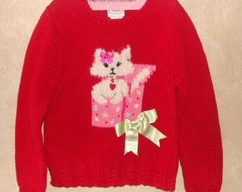 Adorable Vintage Talbots Kids Cat in a Box Red Sweater Girls Size 5