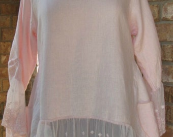 Light pink 100% linen long sleeve top with lace trim-Final SALE
