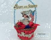 Patriotic 4th of July Vintage inspired STARS & STRIPES decoration/ornament