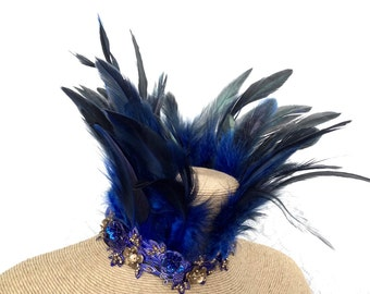 Maleficent feather collar - cobalt blue feather necklace - limited edition premium feather choker - burlesque choker necklace - cobalt blue