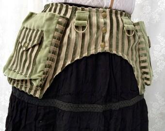 USA made fabric pocket belt - Burning desert Man festival utility belt - sage green velvet festival belt - vegan pocket belt - Extra Small