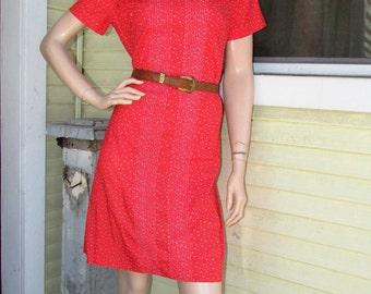 Vintage Vogue Party Dress Vintage 70s Red Print Boho Cotton Party Babygirl Shirt 36 M