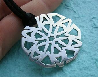 Medium Silver Snowflake Necklace Pendant