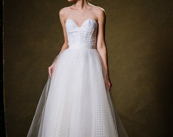 Strapless Lingerie inspired Polka Dot Tulle Wedding Gown - Joy by Cleo and Clementine