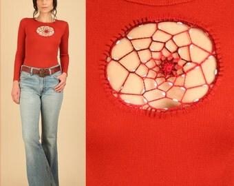 Amazing ViNtAgE 70s Crochet Beaded Dreamcatcher ToP Knit Longsleeve Shirt HiPPiE BoHo S/M