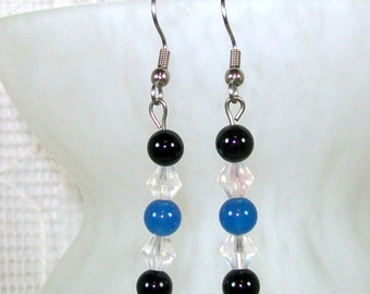 Beaded Dangle Earrings / Beaded Earrings / Crystal Earrings / Handmade Earrings / Black Onyx Earrings / Comfortable Earrings