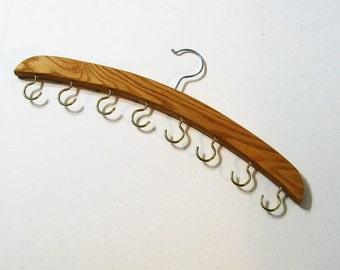 Necklace And Belt  Hanger Organizer Made Of Oak Wood