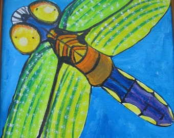 Dragonfly Painting Abstract Tranquil Turquoise Acrylic Original