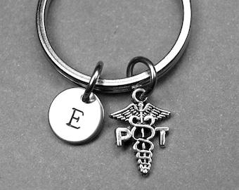 Physical Therapist Keychain, PT keychain, Graduation gift, Grad, Physical Therapist Gift, personalized keychain, initial keychain, monogram