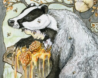 Five of Oak - badger and bees print from The Stolen Child Tarot