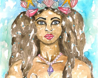 Mother Goddess Art Original Yemaya Watercolor Painting Pagan Art Ocean Goddess Spiritual Art Pagan Altar Mythological Art Altar Art