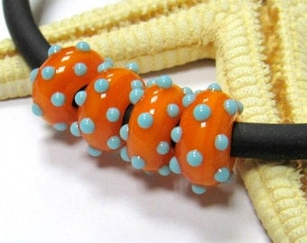 SMAUGGS handmade lampwork bead  (1pc, 10mmx5mm), glass, orange, turquoise, hole 4 or 5mm