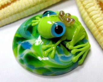 SMAUGGS handmade ring top (1p, 27mm or 20mm), glass, green, lightblue, with 2,5mm nut, SRA