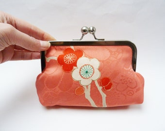 Clutch bag, pink blossom kimono clutch bag, evening purse