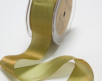 Woven Iridescent Olive/Gold Ribbon, 1 Inch Ribbon, Iridescent Ribbon, May Arts Ribbon, Scapbooking, Hair Bows, Gift Bags,6 Yards