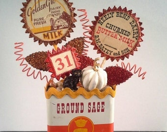 Old-Fashioned OOAK Decoration, Kitchen Decor, Spice Tin Display, Milk Bottle Cap, Dresden Trim, Orange Brown Red Yellow, Crown Colony