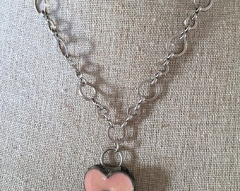 Heart pink resin pendant with silver chain