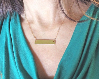 16k gold plated bar necklace, KNIT OR DIE, crochet or die, personalized, bridesmaids, customize with name, date, phrase