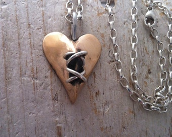 Super duper big spiny lace up heart pincusion in bronze