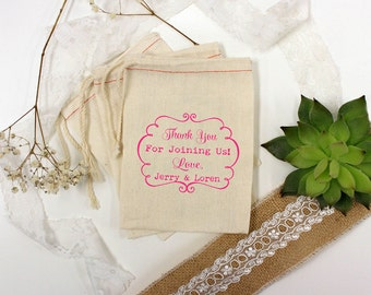 Custom Wedding Favor Bags, Muslin Bags, Personalized Wedding Favors, Custom Wedding Favors, Muslin Bag Wedding Favors 5 x 8 --64511-MB06-610