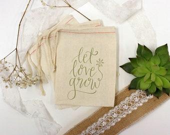 Custom Wedding Favor Bags, Muslin Bags, Personalized Wedding Favors, Custom Wedding Favors, Muslin Bag Wedding Favors 3 x 5 --64506-MB03-610