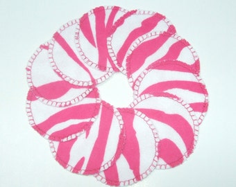 Cotton Rounds Washable Reusable Pink Zebra Stripe Make-up Remover Pads