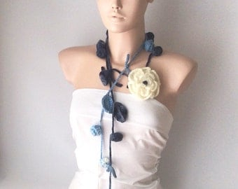 Handmade Crochet  Blue color mix tones, Roses Lariat, Scarf, Necklace