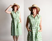 Vintage 1960s Dress - Cotton Plaid Mint Green and White Summer Tunic - Large