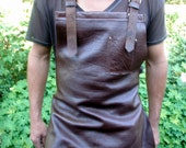 Soft Brown Leather Chef's Apron with Brass Buckles