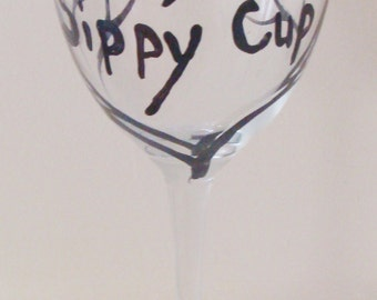 Father's Day Wine Glass, Daddy's Sippy Cup Wine Glass, Dad, Trees, Woodland,  Branches