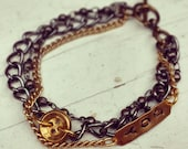 Multi-strand Bracelet with Vintage Button & Stamped Tag