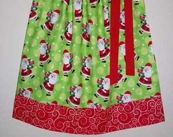 Christmas Dress Pillowcase Dress Girls Dress with Santa Lime Green and Red Holiday Dresses with Santa Dress for Christmas Clothes