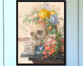 Vanitas Still Life by Herman Henstenburgh Antique Reproduction Print skull flowers skull print gothic home decor gothic gifts art