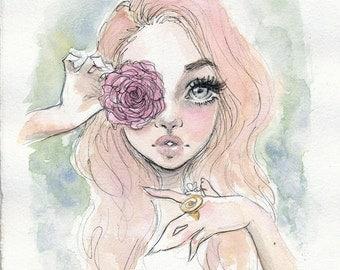 Rose vision - original watercolor painting