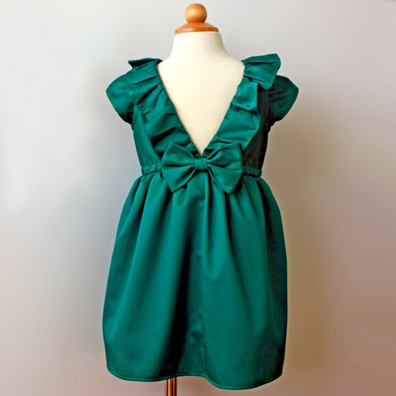 Emerald Green Dress, Toddler and Girl, Holiday, Flower Girl, Birthday Party Dress