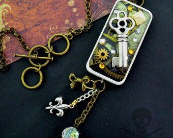 LET ME IN - Couture Domino Resin Steampunk Key, Gear, and Fleur-de-lis Necklace