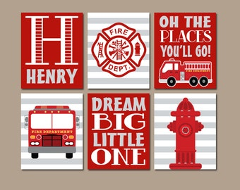 FIRE TRUCK Wall Art, CANVAS or Prints Baby Boy Nursery Art, Navy Red, Big Boy Bedroom Decor, Fireman Hydrant, Personalized Name Set of 6