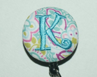 Many fabrics to design YOUR Badge Reel. Monogrammed single letter (#152 shown)