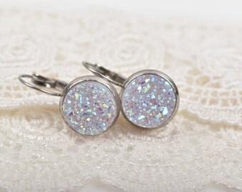 Stainless Steel Druzy Earrings, BLUSH Rainbow Druzy Earrings, Hypoallergenic Earrings, ...