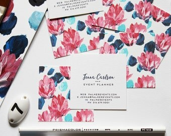 Calling Cards / Business Cards / Blogger Cards / Floral Pink and Blue Set (50) / Handpainted