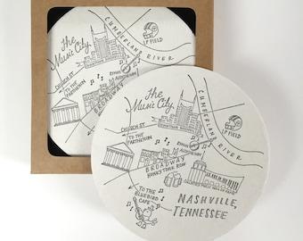Letterpress Nashville, Tennessee Map Coasters