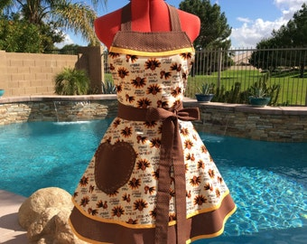Gobble, Gobble Turkey Apron, Womens Misses and Plus Sizes,Retro, Full, Sweetheart, Kitchen Apron, Southern Belle