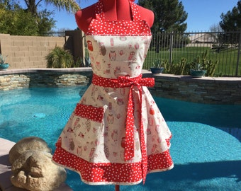 Owl Sasy Apron with Red Polka Dot Petticoat, Womens Plus Sizes, Retro,  Handmade, Pin Up, Alexander Henry Spotted Owl
