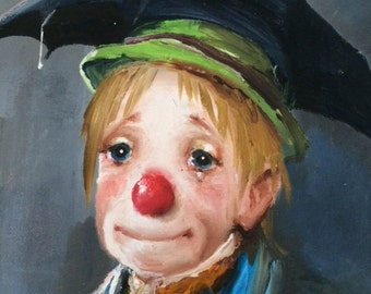 "Vintage Dianne Dengel (Oil) Painting ""Crying Clown & Puppy"""