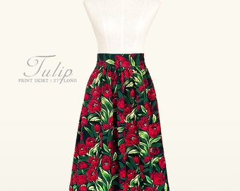 Tulip print fully lined midi skirt with pockets - custom size, length
