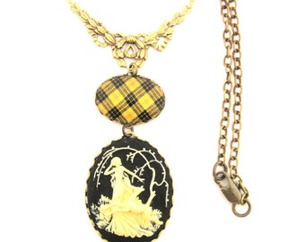 Scottish Tartan Jewelry - Tartans Special Occasion Collection - MacLeod of Lewis Victorian Stag Necklace with Ornate Swag Bail