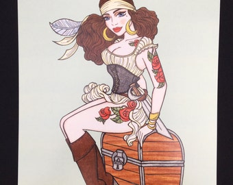 Pirate pinup, nautical illustration print - Illustration by Brenda Dunn from Portland, OR