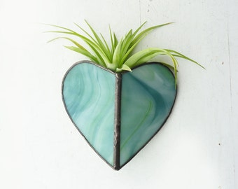 Air Plant Holder - Stained glass Sconce -Blue-green