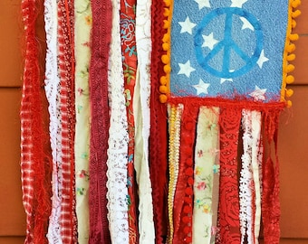 Hippie Boho American Flag Peace Symbol Wall Hanging