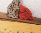 Antique Indian Wood Block Print Wood Carving Rabbit Carving Floral Carving Wood Print From India Small Boho Decor Object